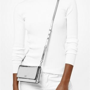 Crackled Metallic Leather Convertible Crossbody Ba